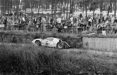 1967: Disaster for the Ford GT40 MK II 7 litre V8 driven by Jo Schlesser and Guy Ligier; © Derek Appleyard