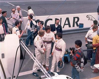 1986: Jaguar drivers Win Percy, Derek Warwick and Eddie Cheever in the pitlane; © Rupert Lowes